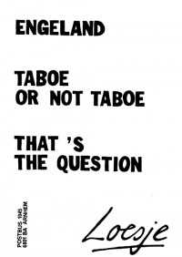 Engeland taboe or not taboe that's the question